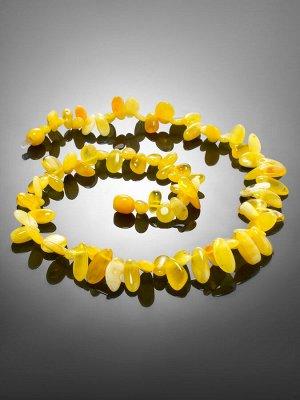 Детские бусы из натурального янтаря «Облепиха медовая крупная» для детей, 007102095