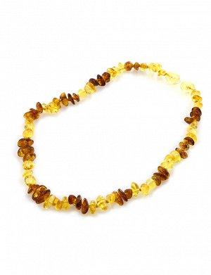 Детские бусы «Галька» из натурального янтаря лимонного и коньячного цветов для детей, 607103502