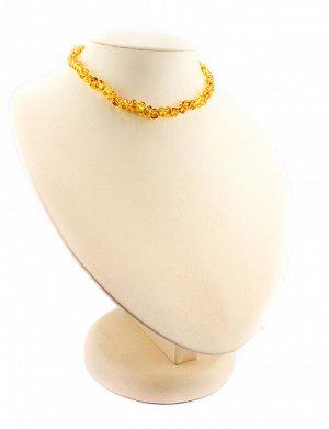 Бусы из натурального янтаря детские «Галька золотисто-коньячная» для детей, 507105001
