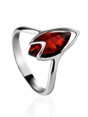 Нежное серебряное кольцо с янтарём вишнёвого цвета «Подснежник», 906312246