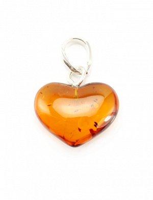 Подвеска-сердце из натурального цельного янтаря коньячного цвета, 505401164