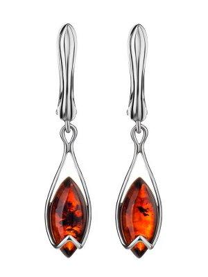 Лёгкие изящные серьги из серебра и янтаря вишнёвого цвета «Подснежник», 906512269