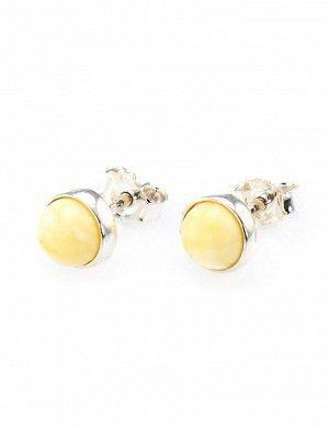 Нежные серебряные серьги-пусеты со вставками из натурального медового янтаря «Ягодки», 608706369