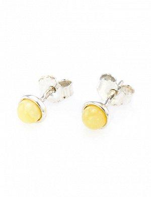 Маленькие серьги-пусеты из серебра со вставками из натурального медового янтаря «Ягодки», 608706364