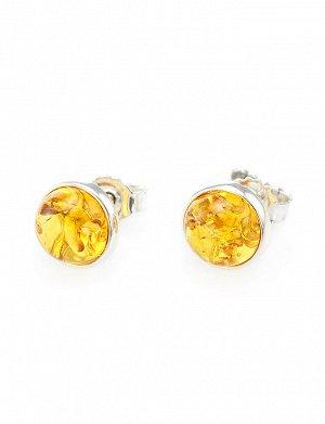 Серебряные серьги-пусеты со вставками из натурального янтаря золотисто-лимонного цвета «Ягодки крупные», 608706367