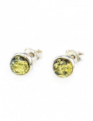 Яркие серьги-пусеты из серебра со вставками из натурального балтийского янтаря зелёного цвета «Ягодки», 608706371