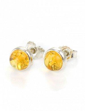 Серебряные серьги-пусеты со вставками из натурального балтийского лимонного янтаря «Ягодки», 608702355