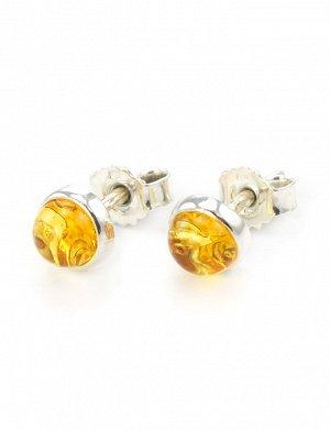 Серьги-пусеты из серебра со вставками из натурального балтийского янтаря «Ягодки лимонные», 608702357