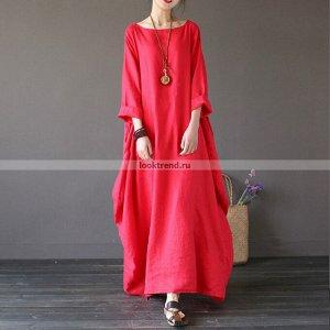 Красное платье Бохо K-171