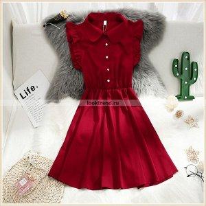 Платье цвета красного вина W-444
