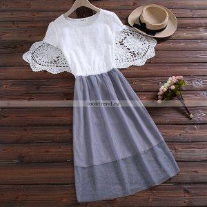 Бело-серое платье W-446