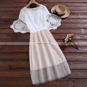 Бело-абрикосовое платье W-447