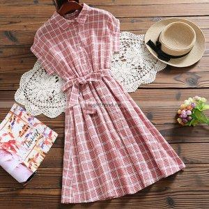 Красно-белое платье в клетку W-450