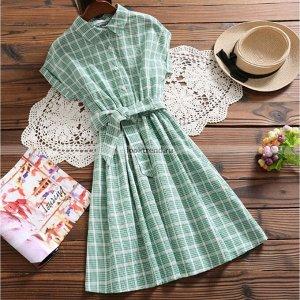 Зелёно-белое платье в клетку W-451