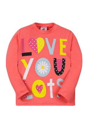 """Кофты на кнопке для девочек """"Love you"""", цвет Коралловый"""