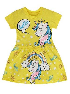 """Платья для девочек """"Unicorn yellow"""", цвет Желтый"""