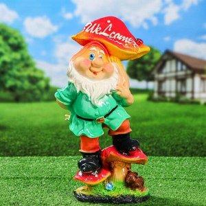 """Садовая фигура """"Гном с грибом Welcome"""", разноцветный, 41 см, микс"""