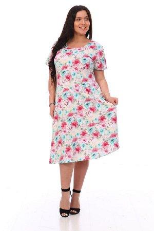 Платье Платье женское трикотажное полуприлегающего силуэта с юбкой-полусолнце, с коротким втачным рукавом. Горловина О-образная. Фигурный подрез по линии талии. Платье длиной до середины икры. Женстве