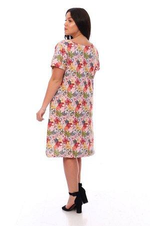 Платье Платье женское трапециевидного силуэта, с О-образным вырезом горловины, с втачным коротким рукавом и боковыми карманами в шве. Нижний срез фигурный. Длина изделия ниже колена. Дышащий, приятный