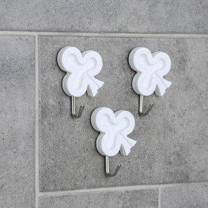 Набор крючков на липучке «Нежность», 3 шт, цвет белый, форма МИКС