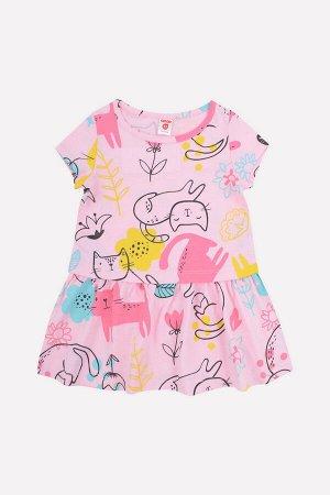 5615 Платье/розовое облако, кошки с цветами