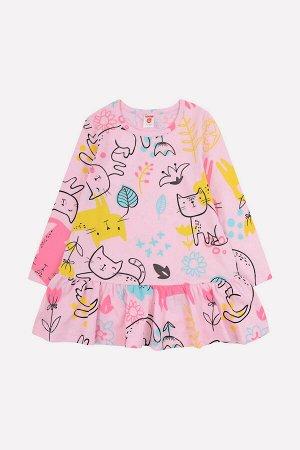 Платье(Осень-Зима)+girls (розовое облако, кошки с цветами)