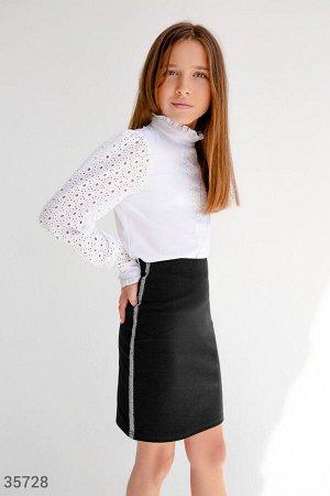 Черная юбка-карандаш с лампасами
