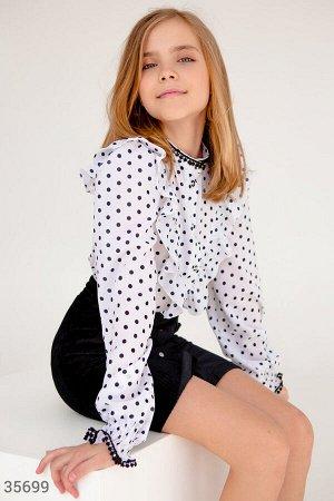 Элегантная школьная блуза в горошек