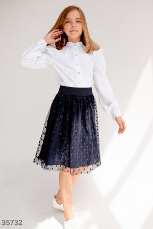 Расклешенная фатиновая юбка синего цвета