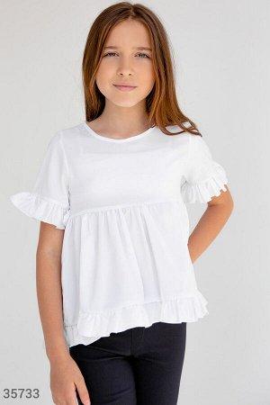 Белая школьная блуза с воланами