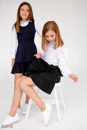 Черная юбка на запах с воланом