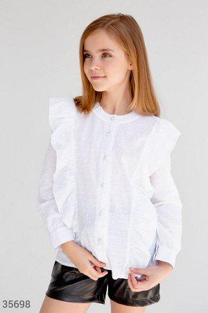 Блуза для школы с утонченными воланами