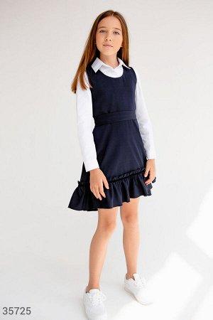 Синий сарафан с оборкой для школы