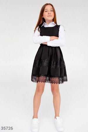 Черный школьный сарафан с кружевом