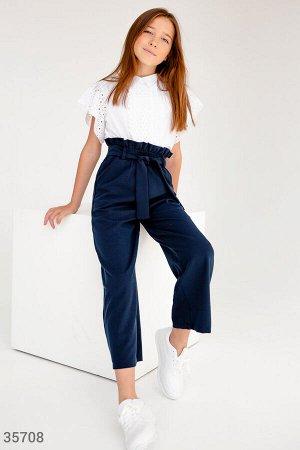 Классические синие брюки с высокой талией