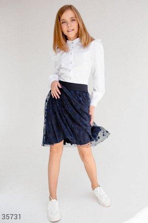 Расклешенная фатиновая юбка в складку