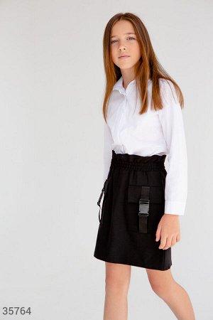 Черная школьная юбка с карманами