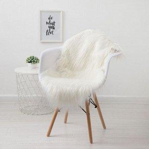 Накидка меховая « Уют» цвет белый, 60х100 см