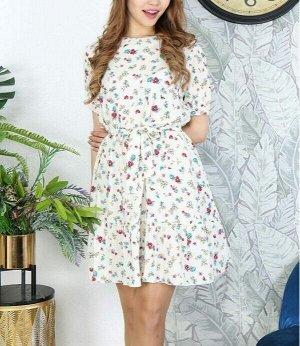 Платье Материал: штапель, длина 90 см Внимание! Реальный цвет на фото 2. Платье идет без пояса!.