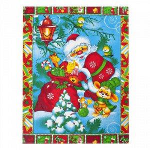 Полотенце 45х60, КУПОН, вафельное полотно, 100 % хлопок,  Новый год (зелёный)