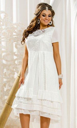 Платье Платье Vittoria Queen 11433 молочный  Состав ткани: Хлопок-100%;  Рост: 164 см.  Оригинальное, красивое, очень женственное платье - для тех, кто хочет подчеркнуть свой вкус к классным вещам. Н