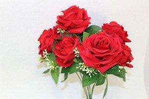 """Розы """"бархатные"""" букет 35см,7 бутонов 7-9см, упак 1шт."""