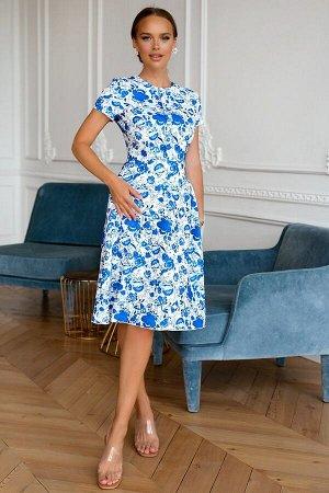 Платье Размер: 42 / 44 / 46 / 48 Красивое платье из ткани под лен Шикарный рисунок под гжель. сзади замок 50 см Собственный дизайн ткаи.