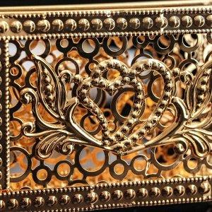 Салфетница декоративная «Сердца», цвет золотой