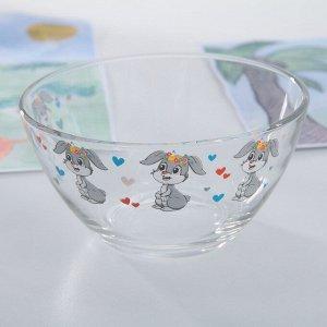 Набор детской посуды Доляна «Зайчонок», 3 предмета: кружка 200 мл, миска 450 мл, тарелка 20 см,