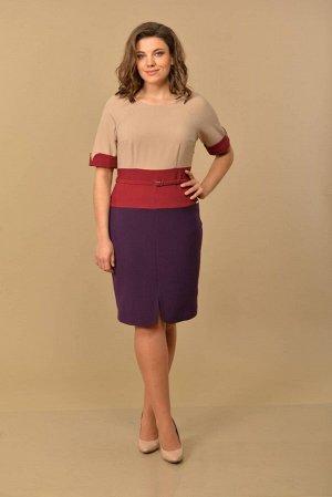 Платье Lady Style Classic 604/1 кремово-сливово-фиолетовый