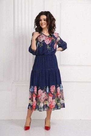 Платье Платье Solomeya Lux  562 синий  Состав ткани: ПЭ-100%;  Рост: 170 см.  Платье женское из шифона. Синее платье из шифоновой ткани с подкладом. Стильное женское платье с цветочным принтом. Плать