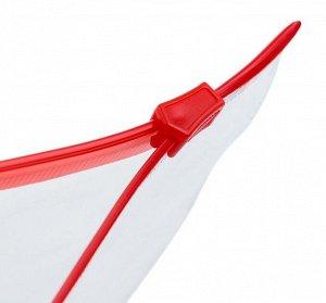 Папка-конверт на молнии, формат А5, прозрачная, 120 мкр