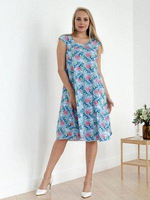 Женское платье П-8-БГ (Бабочки на голубом)