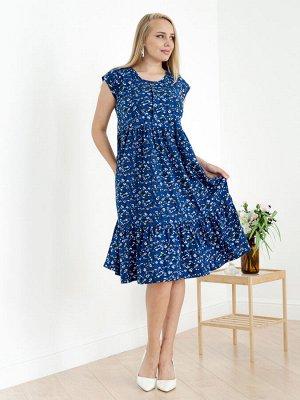 Женское платье Стефани-Ц-3 (Цветы на синем)